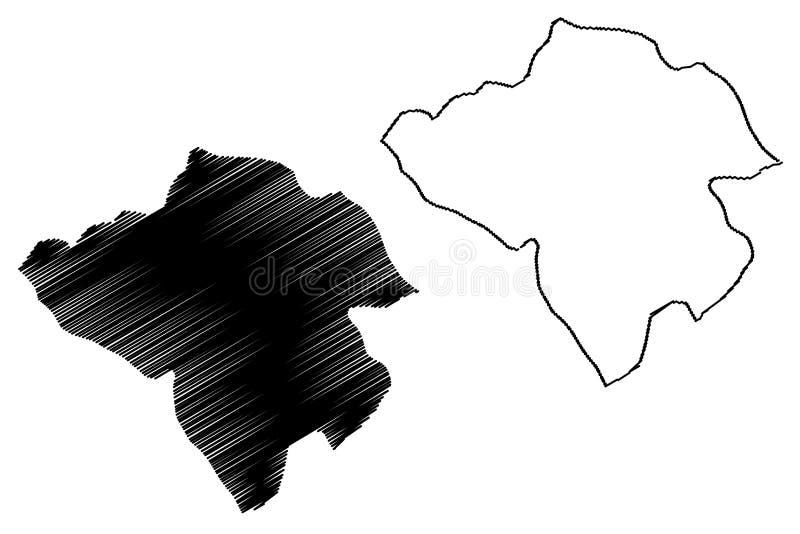 Manouba Governorate Governorates of Tunisia, Republic of Tunisia map vector illustration, scribble sketch La Manouba map.  stock illustration