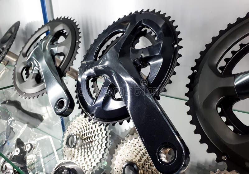 Manovella della bicicletta e cassetta posteriore fotografia stock