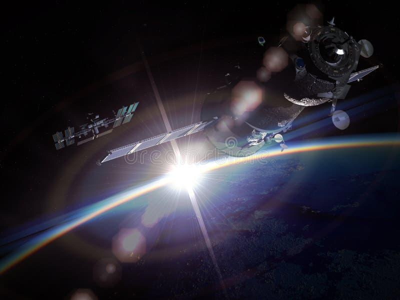 Manovra dello spazio all'orbita terrestre illustrazione di stock