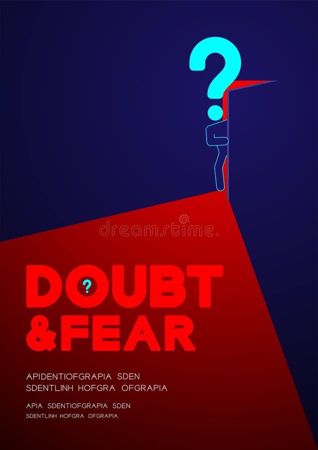 Manpictogramen och frågefläcken öppnar dörren till mörkt rum, affischen för begrepp för tvivel- och skräckpsykologiproblem och ba stock illustrationer