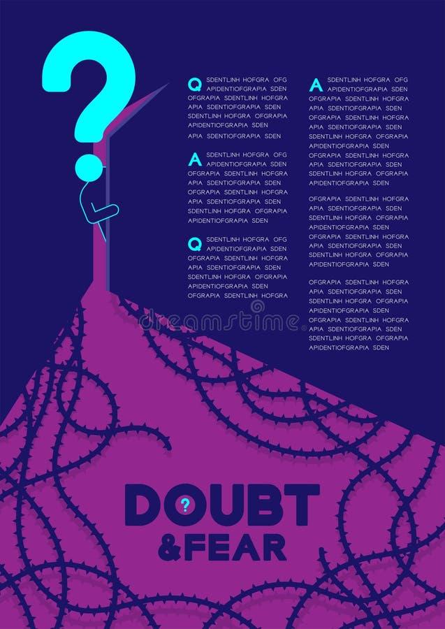 Manpictogramen och frågefläcken öppnar dörren till mörkt rum med begrepp för problem för psykologi för skuggataggvinranka, tvivel vektor illustrationer