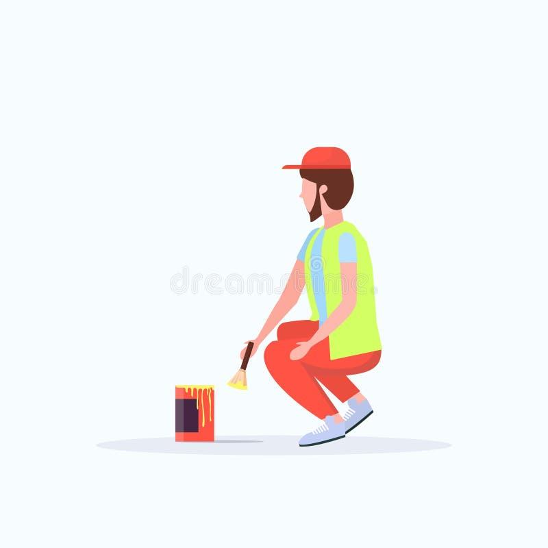 Manrengöringsmedel i likformig genom att använda service för väg för garnering för trottoar för gata för målning för dörrvakt för royaltyfri illustrationer