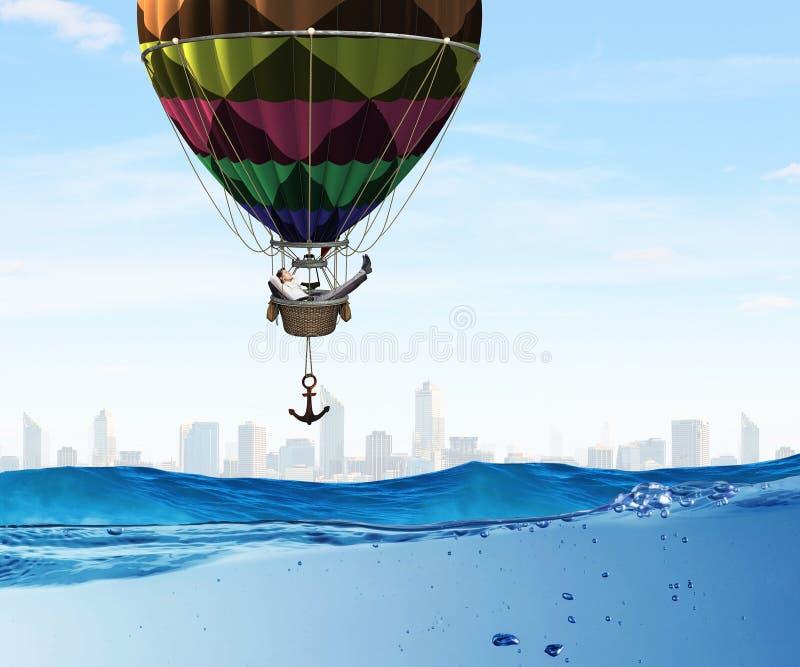 Manresande i aerostat Blandat massmedia royaltyfri bild