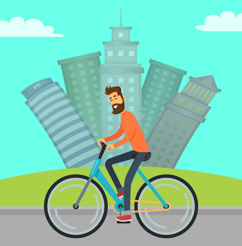 Manridningcykel i stad på vägen, Cityscape vektor illustrationer