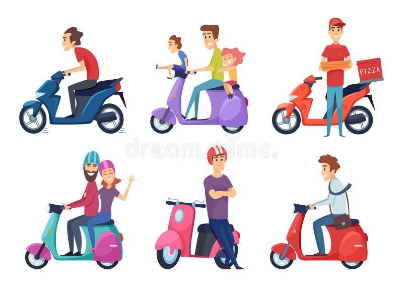 Manrittmotorcykel Snabb cykelsparkcykel för par för leveranspizza- eller mathandelsresande som kör var nedstämd vektorbilder royaltyfri illustrationer