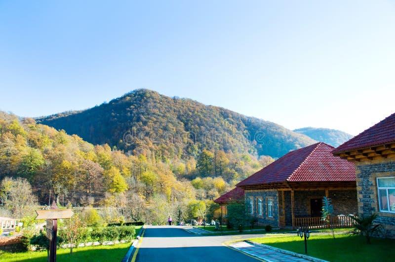 Download Mansão no meio da montanha imagem de stock. Imagem de árvore - 12812543