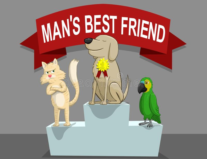 Mans best friend. Illustration of a competition of who is the best friend of the man royalty free illustration
