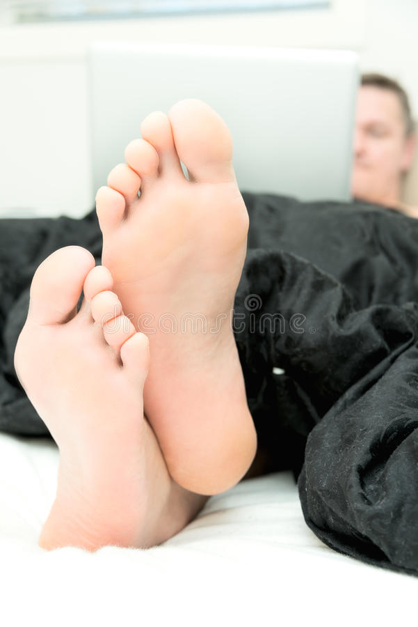 Mans foot. Pair of mans foot close up stock photography