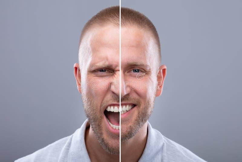 Mans framsida som visar ilska och lyckliga sinnesr?relser royaltyfri bild