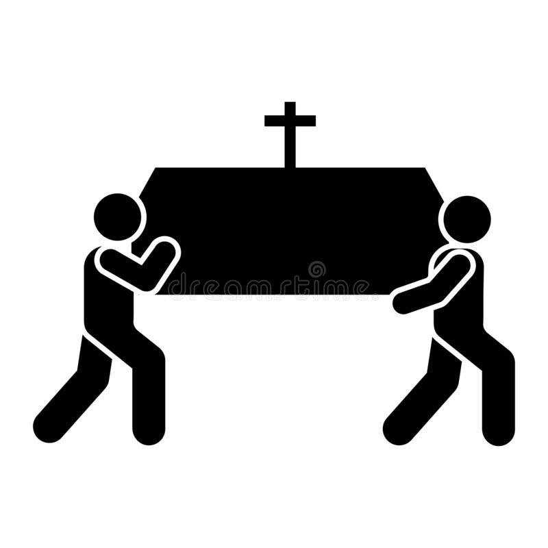 Mans funeral coffin carry icon. Element of pictogram death illustration.  stock illustration