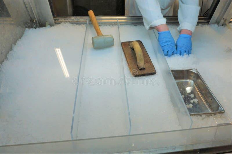 Mans händer förbereder is för försäljning för fiskmarknad arkivbilder