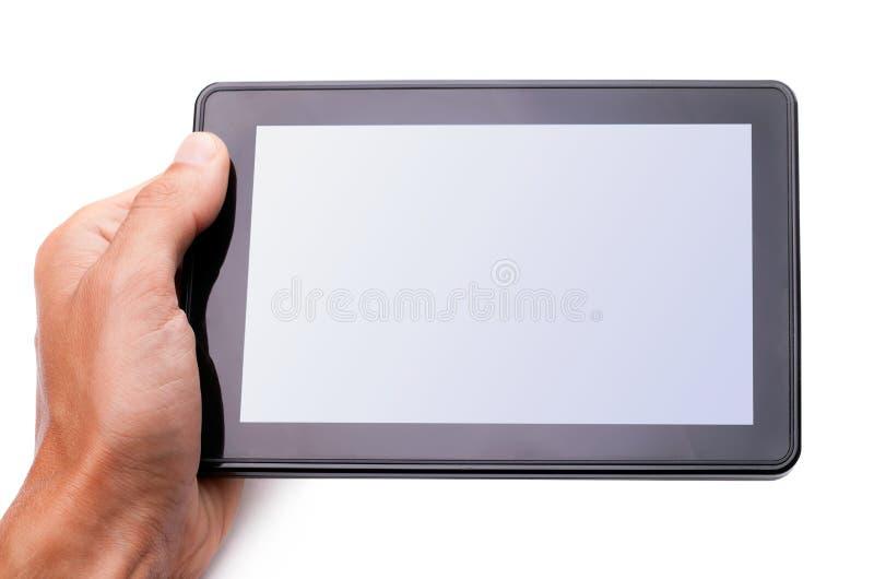 Mans händer som rymmer en tablet royaltyfri fotografi