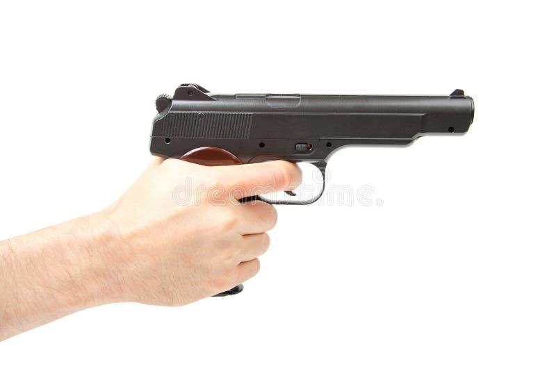 Mans hållande vapen för hand som isoleras på vit royaltyfri foto
