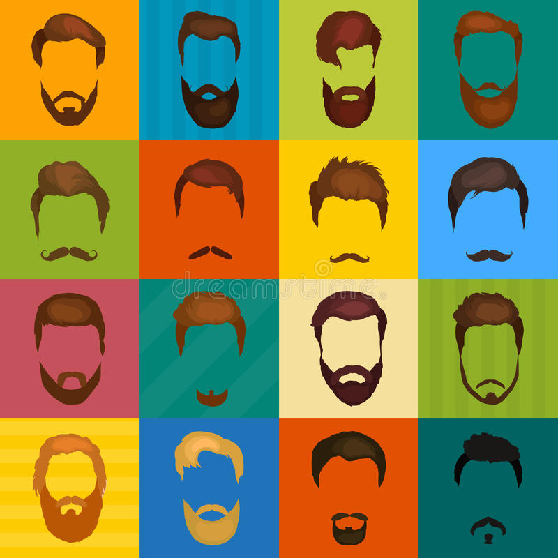 Mans hair set of beards and mustaches vector. Hipster style fashion beards and hair illustration. Peoples royalty free illustration