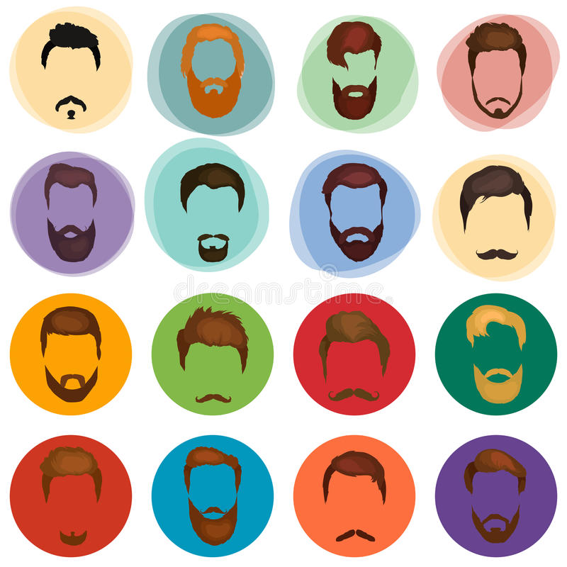 Mans hair set of beards and mustaches vector. Hipster style fashion beards and hair isolated illustration. royalty free illustration