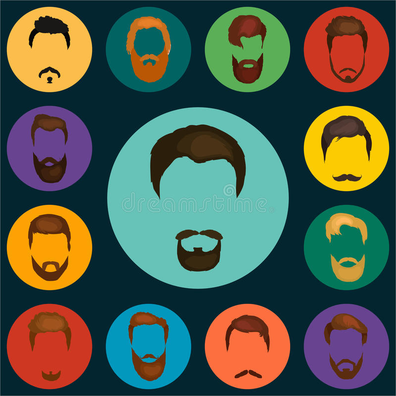 Mans hair set of beards and mustaches vector. Trendy haircut types for barber shop. mans beards design, haircut. Mans hair set of beards and mustaches vector royalty free illustration