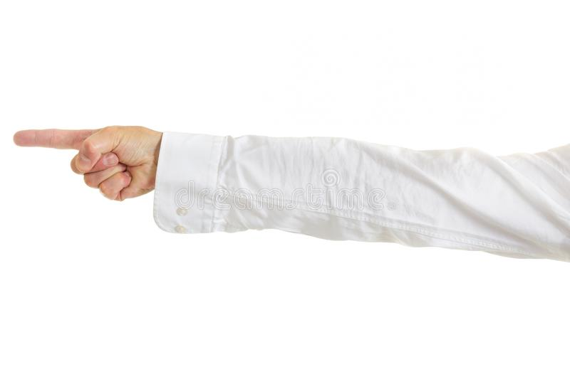 Mans hand and arm pointing. Mans hand and arm in shirtsleeves pointing to the left of the frame, isolated on white stock photography