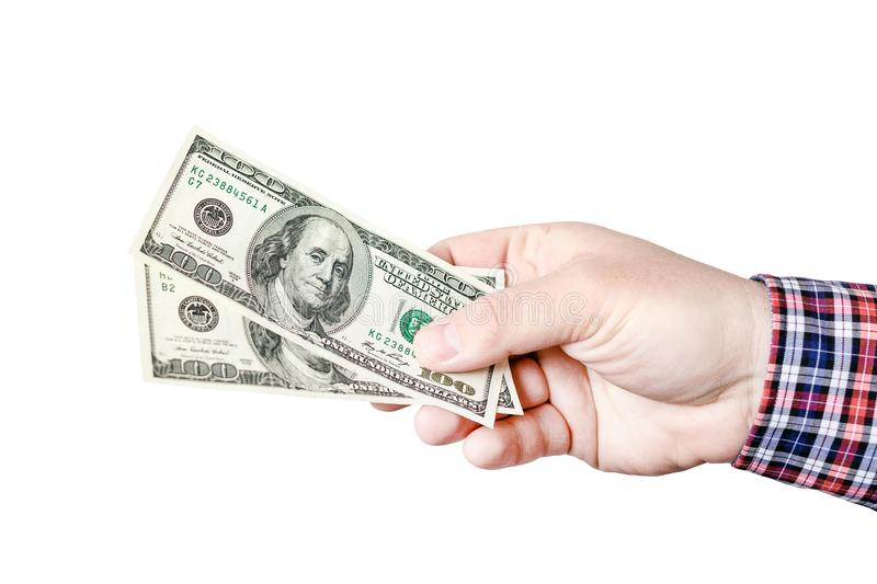 Mans hand in casual shirt holding 100 dollar bills. Person giving two hundred US dollar banknotes. Money, loan or profit offer con stock photos