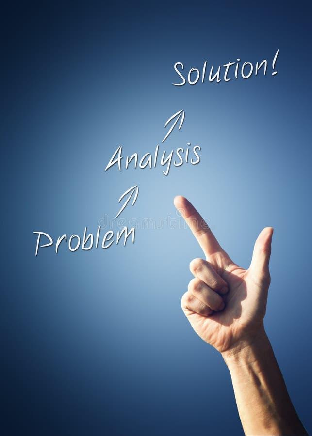 Mans handen som pekar till problemet - lösningsdiagram fotografering för bildbyråer