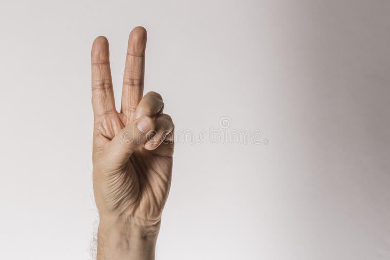 Mans handgest som räknar nummer två som isoleras på vit bakgrund - del av uppsättningen royaltyfria bilder