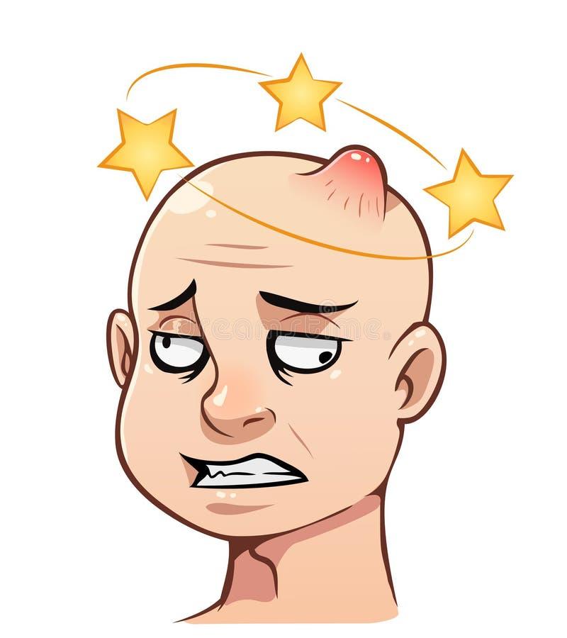 Mans huvud med en bula royaltyfri foto