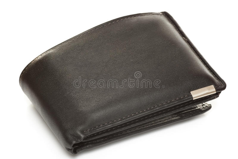Mans leather wallet. Isolated on black royalty free stock photos