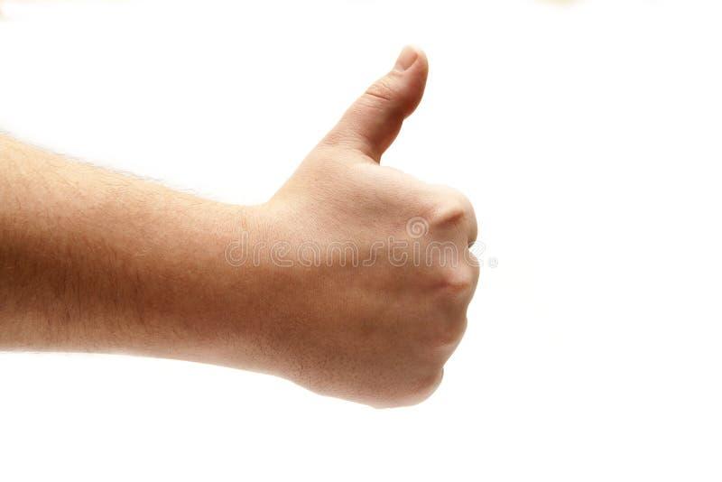 Mans mänskliga hand som rymmer upp ett finger royaltyfria bilder