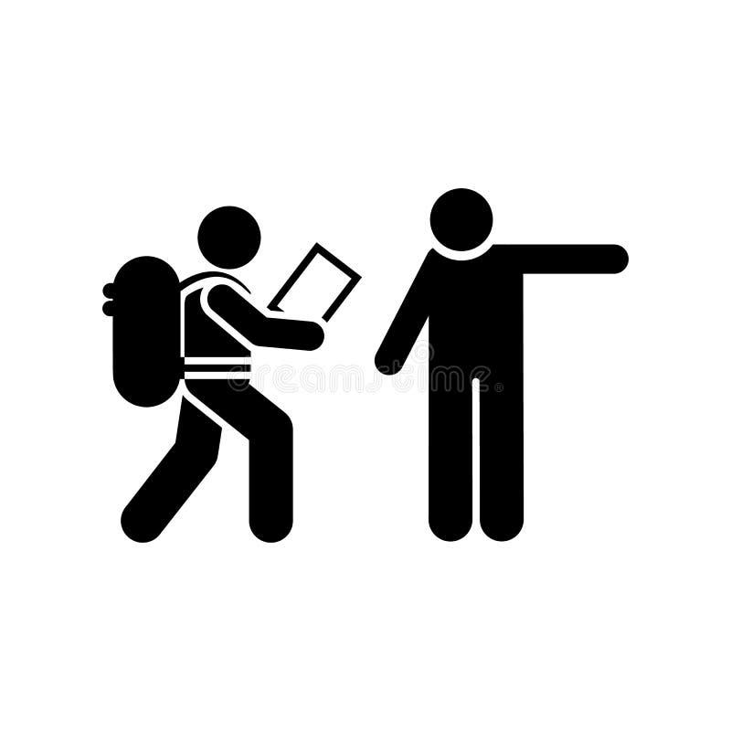 Mans que pede o ícone do mochileiro do sentido Elemento da ilustração da aventura do pictograma ilustração do vetor