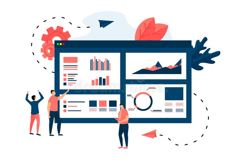 Mans studying financial statistics on screen monitor. Financial reports, charts graphs on online browser. Business concept.  royalty free illustration