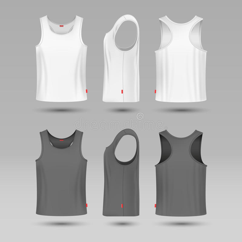 Mans white blank tank singlet. Male shirt without sleeves vector template. T-shirt front and back, illustration of mock up shirt royalty free illustration