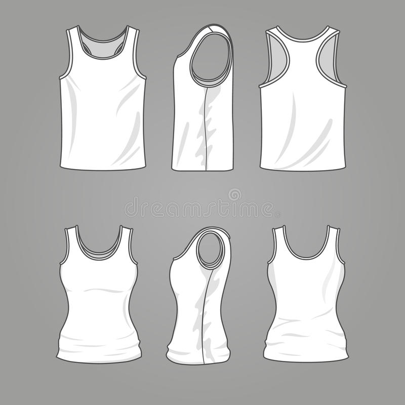 Mans and womans blank outline casual tank top vector mockup stock illustration