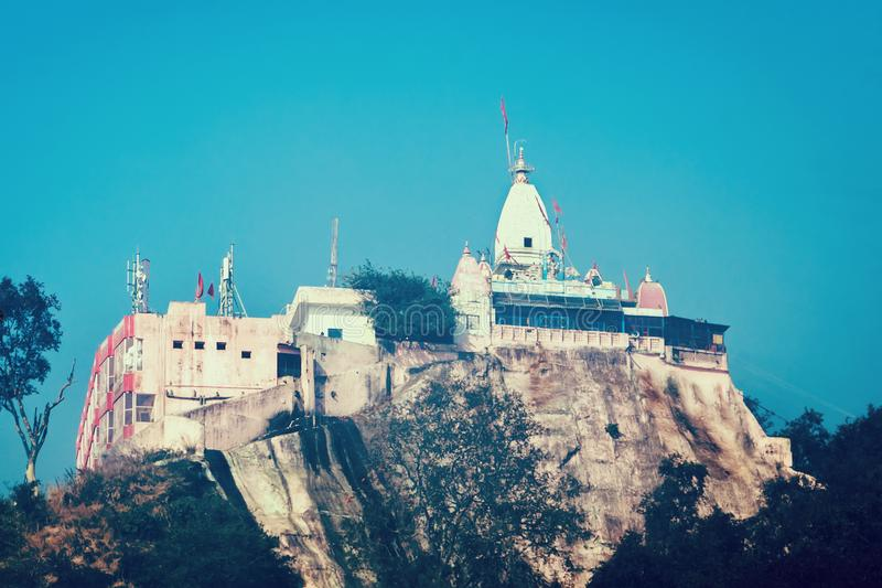 Mansa Devi Temple is een Hindoese tempel stock afbeelding