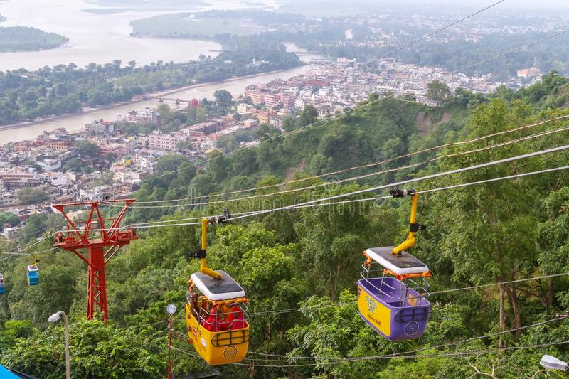 Mansa Devi Temple Ropeway royalty free stock images
