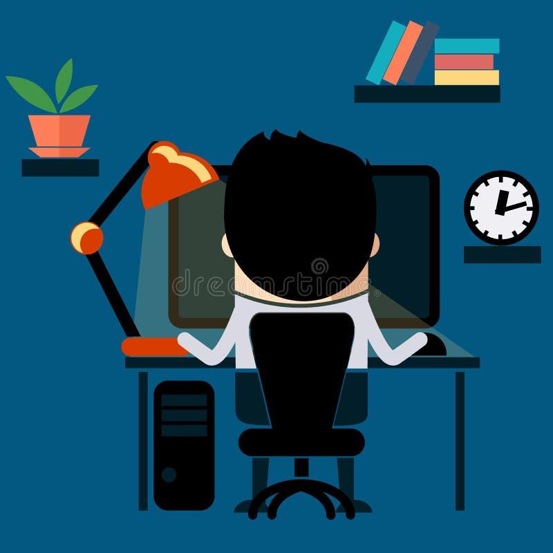 Mansammanträde på stol på tabellframdelen av datoren stock illustrationer