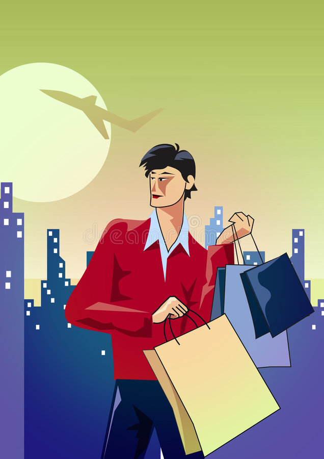 manshopping stock illustrationer