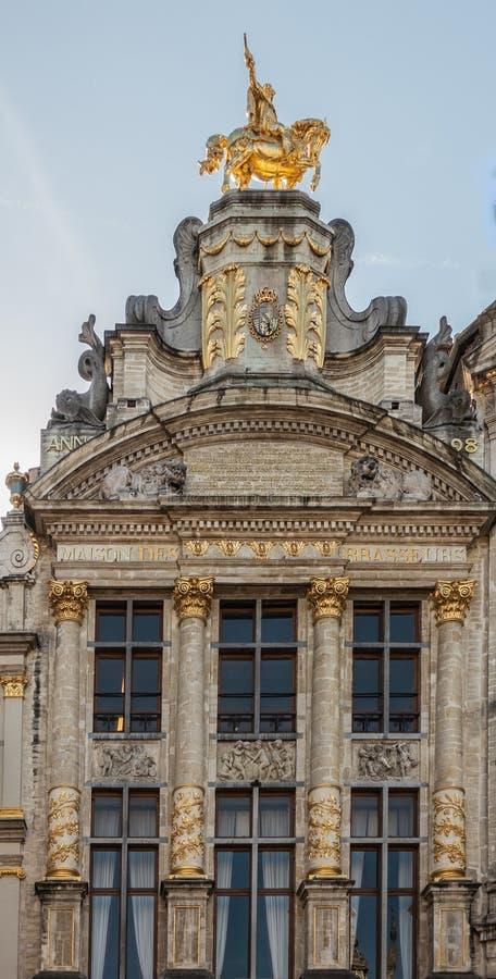 Mansión belga del gremio de los cerveceros en Grand Place en Bruselas, Belgiu fotos de archivo