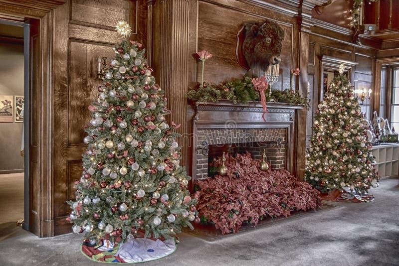 Mansión de Vanderbilt adornada para la Navidad fotos de archivo libres de regalías