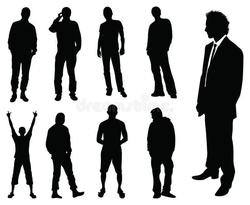 mansilhouette royaltyfri illustrationer