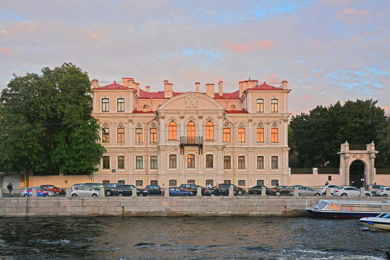 Mansion of the countess Karlova on Fontanka River Embankment in Saint Petersburg, Russia. House of the 19th century in style of Neobaroque on Fontanka River royalty free stock images