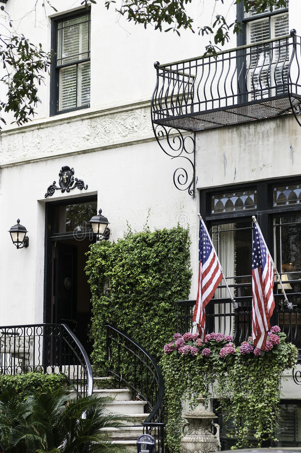 Mansion entrance US Flags royalty free stock images