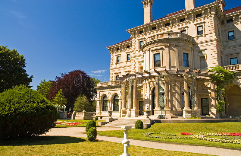 Mansion and gardens royalty free stock photos