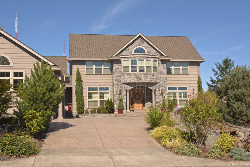 Mansion home and garden Happy valley Oregon. Mansion home and garden in Happy valley Oregon royalty free stock photography