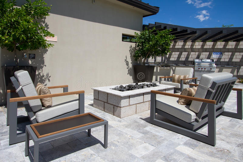 Mansion home outdoor plaza patio stock images