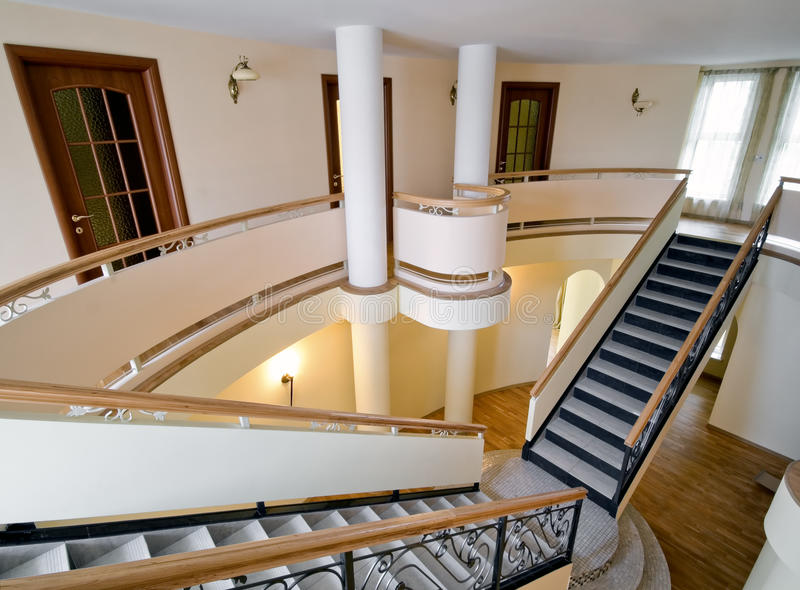 Download Mansion Interior With Staircase And Balcony Royalty Free Stock  Images   Image: 13159559