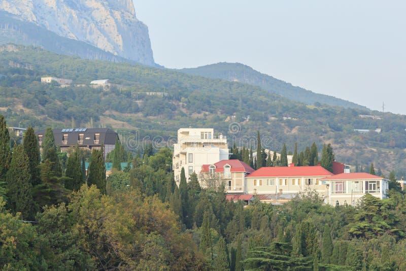 Mansion near the mountains of Crimea stock photo