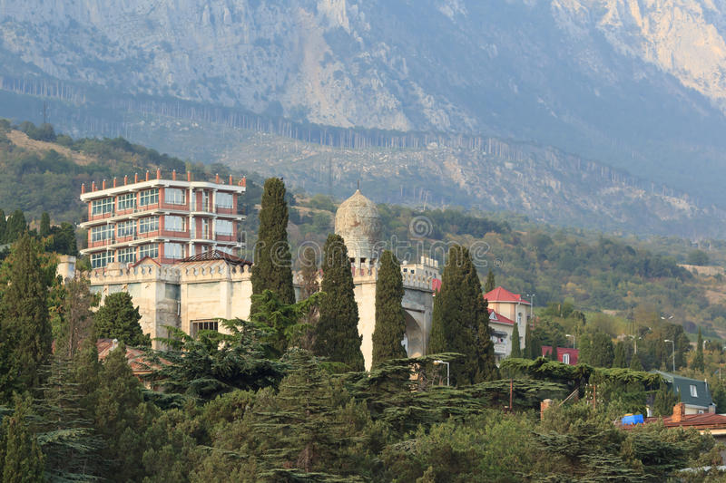 Mansion near the mountains of Crimea royalty free stock photography