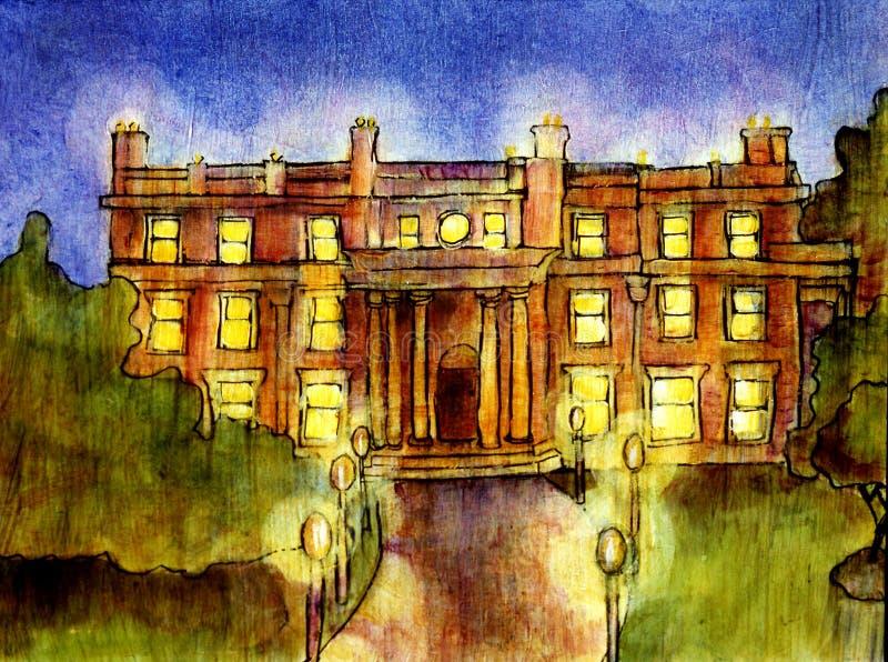 Download Mansion at night stock illustration. Illustration of lamps - 710116