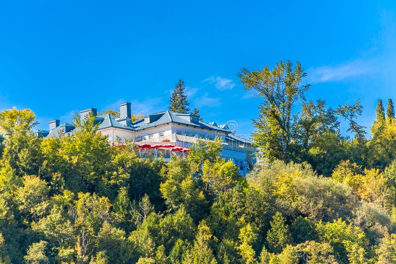 House Over Montmorency Falls. A Mansion Over Montmorency Falls near Quebec City, Quebec, Canada stock photos