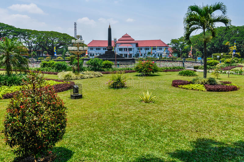 Mansion and a park in Malang, Indonesia. Mansion and a park in Malang on Java Island, Indonesia royalty free stock photo