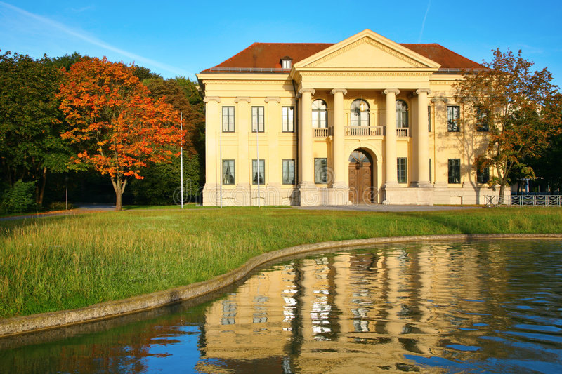 Mansion at reservoir. Munich. stock photography